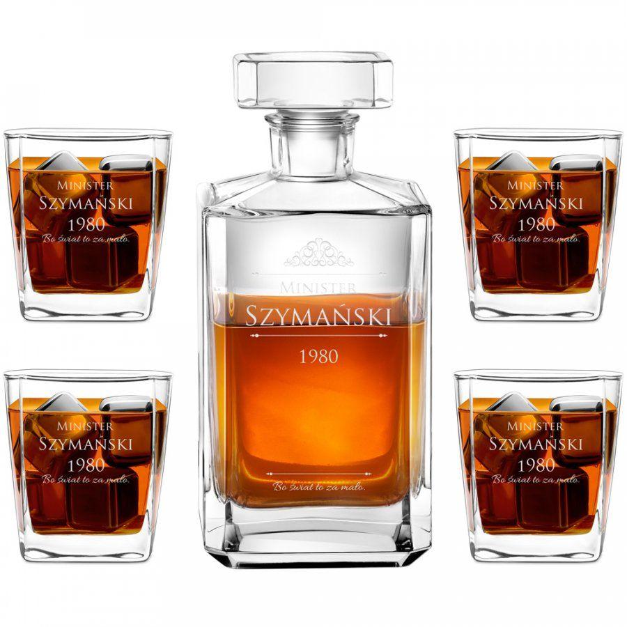 Karafka burbon 4 szklanki zestaw grawer dla ministra na 40 urodziny