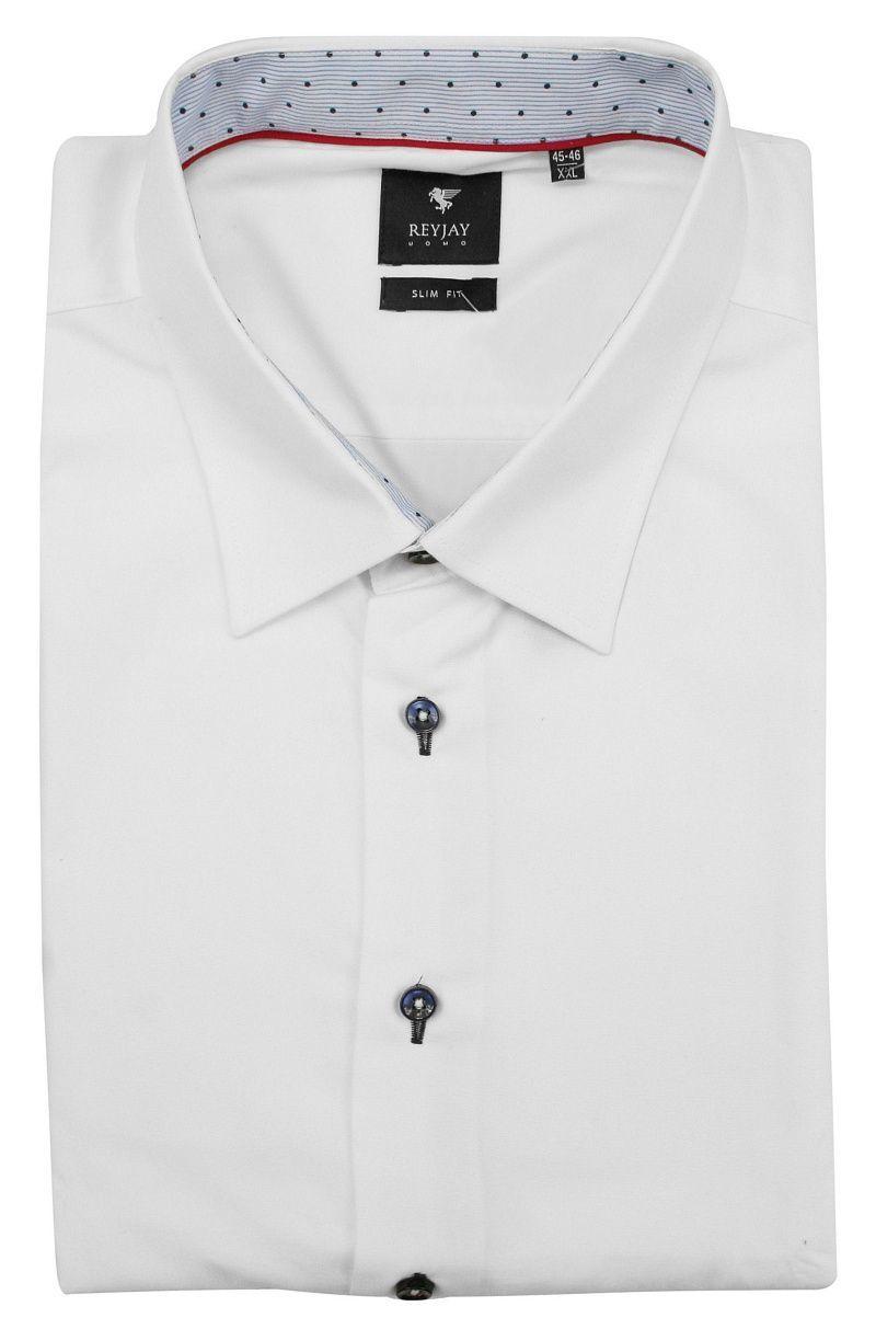 Biała Elegancka Koszula Męska z Długim Rękawem -REY JAY- Taliowana, 100% Bawełna KSDWRJrap316014SL