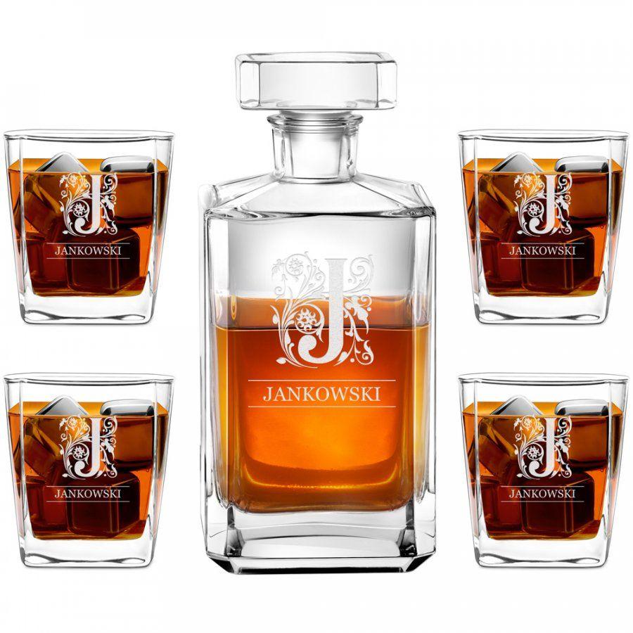 Karafka burbon 4 szklanki zestaw grawer inicjał dla niego