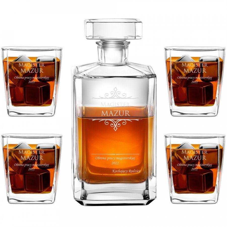 Karafka burbon 4 szklanki zestaw grawer dla magistra na obronę
