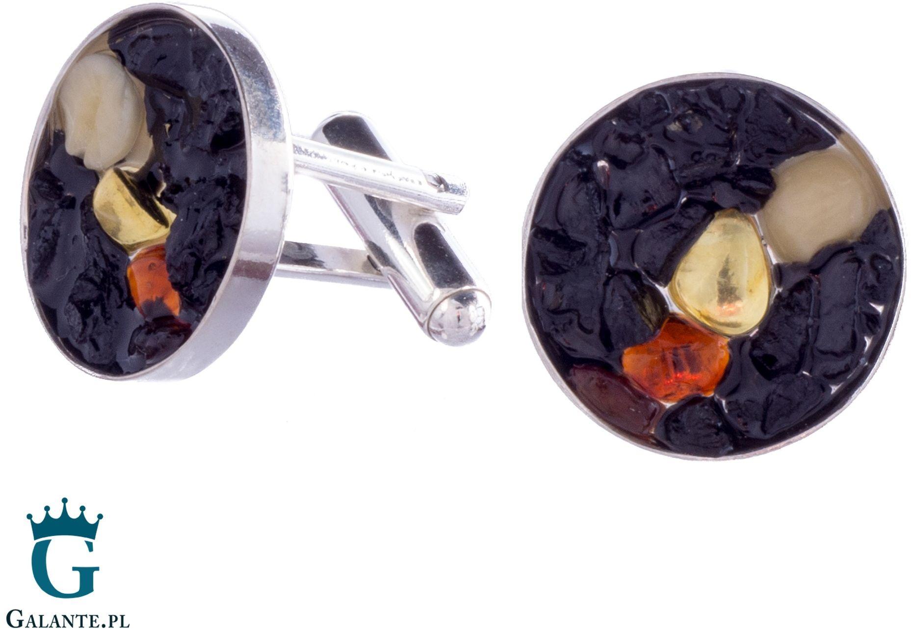 Srebrne spinki z bursztynem i węglem smw-014