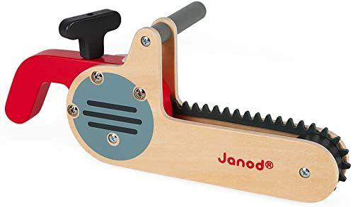 Janod J06471 Brico''kids piła łańcuchowa z drewna, zabawka rolkowa, rozwój motoryki precyzyjnej i fantazji, certyfikat FSC, od 3 lat