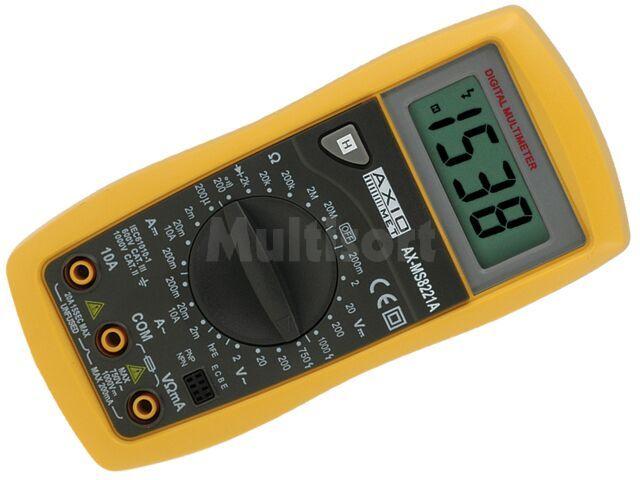 Multimetr kieszonkowy do 10A AC/DC AxioMet AX-MS8221A