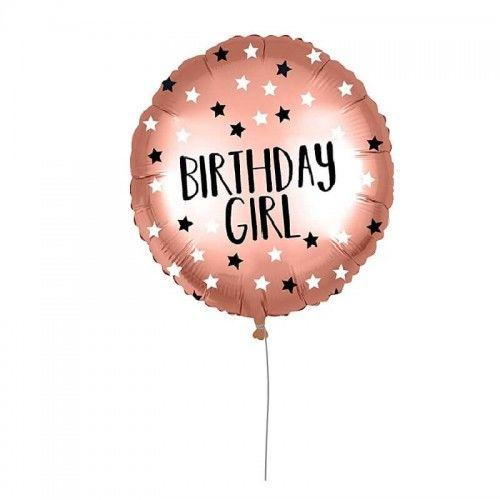 Balon foliowy Birthday Girl, różowe złoto z Gwiazdami