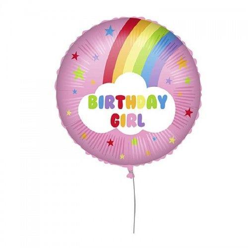 Balon foliowy Birthday Girl, Tęcza