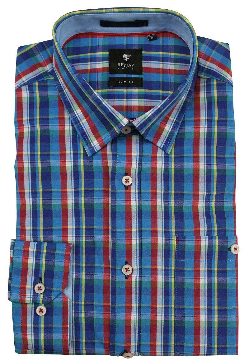 Kolorowa Koszula Męska z Długim Rękawem -REY JAY- Taliowana, w Kartkę, z Kieszonką na Guzik KSDWRJrap117103SL