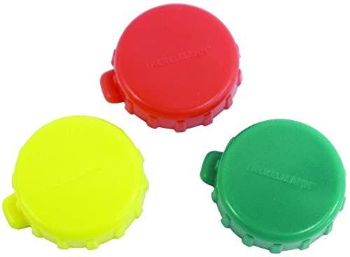 FACKELMANN Korki do butelek 10 szt, plastikowe korki do zamykania wszystkich dostępnych na rynku butelek, nadają się do mycia w zmywarce, czerwone, białe, 2,3