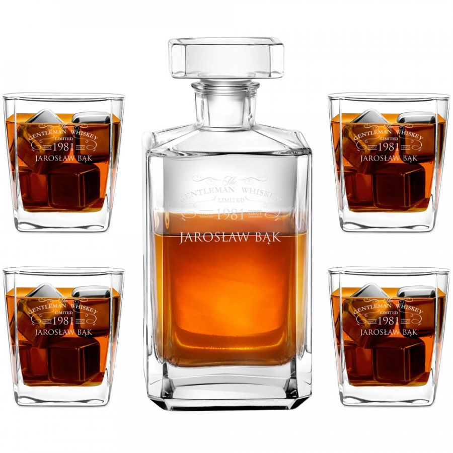 Karafka burbon 4 szklanki zestaw grawer dla gentlemana na urodziny