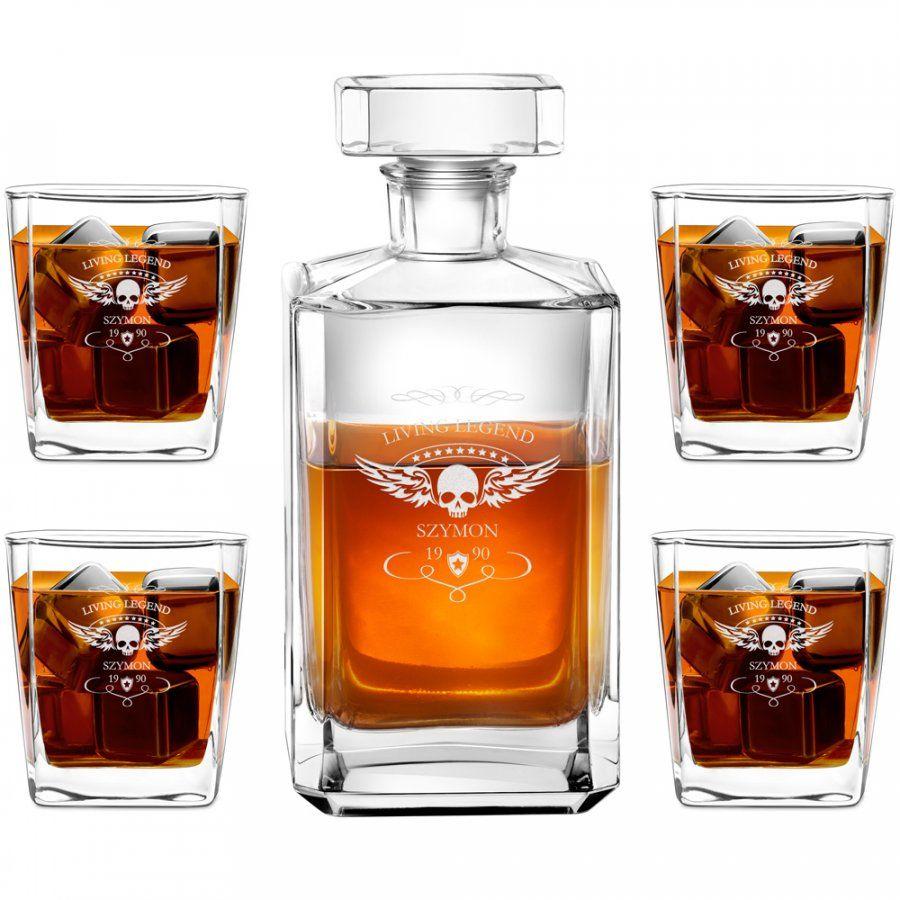 Karafka burbon 4 szklanki zestaw grawer living legend dla niego na