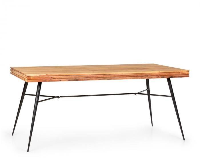 Besoa Vantor, stół do jadalni, drewno akacjowe, stelaż żelazny, 175 x 78 x 80 cm, drewno
