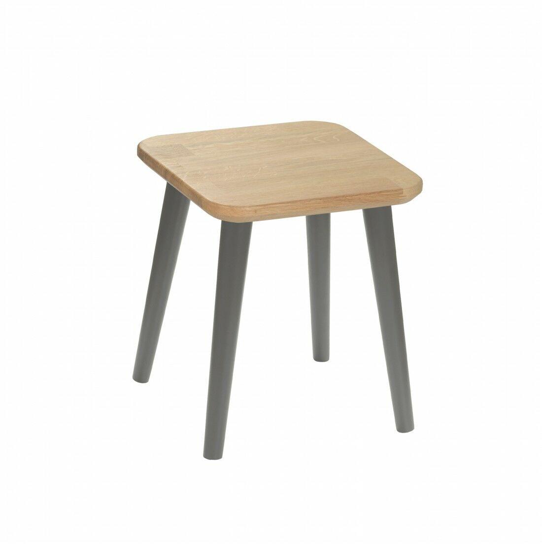 Taboret kwadratowy z litego dębu Modern Oak, Wykończenie nogi - Grafit, Wysokość - 340, Wymiar siedziska - 300x300