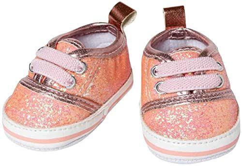 Heless 148 brokatowych trampek dla lalek, w kolorze różowym, rozmiar 38-45 cm, eleganckie buty z efektem wow na specjalne okazje