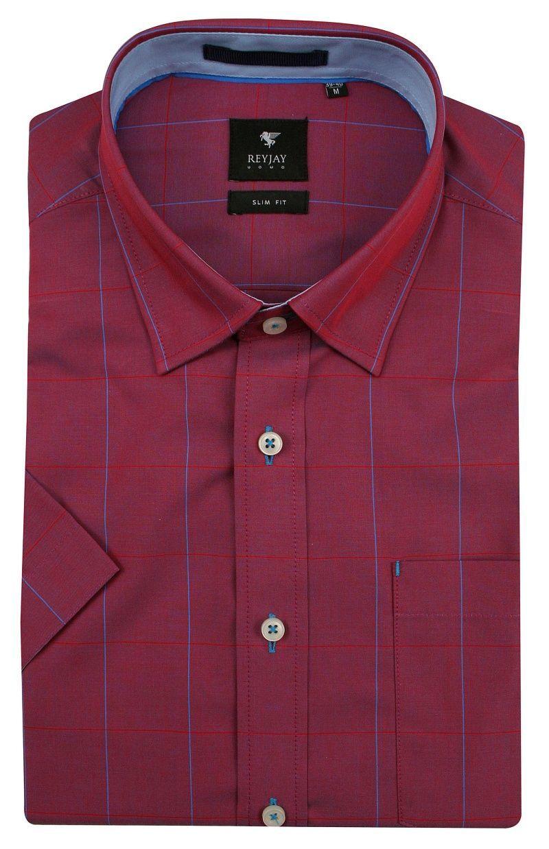 Bordowa Bawełniana Koszula z Krótkim Rękawem -REY JAY- w Delikatną Niebieską Kratkę KSKWRJrap117110SL