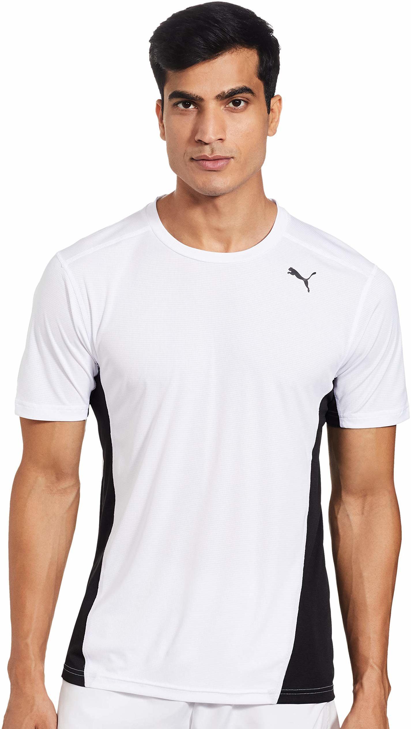 PUMA męska koszulka Cross the Line koszulka, biała czarna, mała