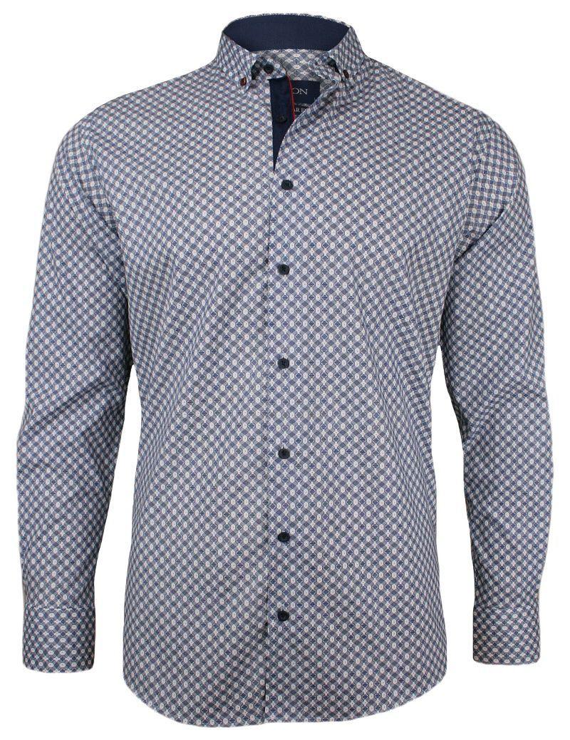 Granatowa Koszula Męska - RIGON - Krój Prosty, Długi Rękaw, Geometryczny Wzór KSDWRGN0502gran