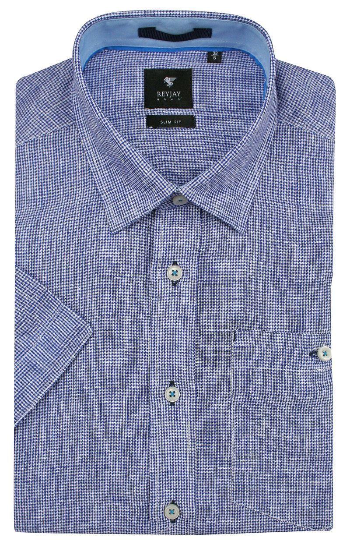Niebieska Lniana Koszula z Krótkim Rękawem -REY JAY- w Drobną Kratkę KSKWRJrap117102SL