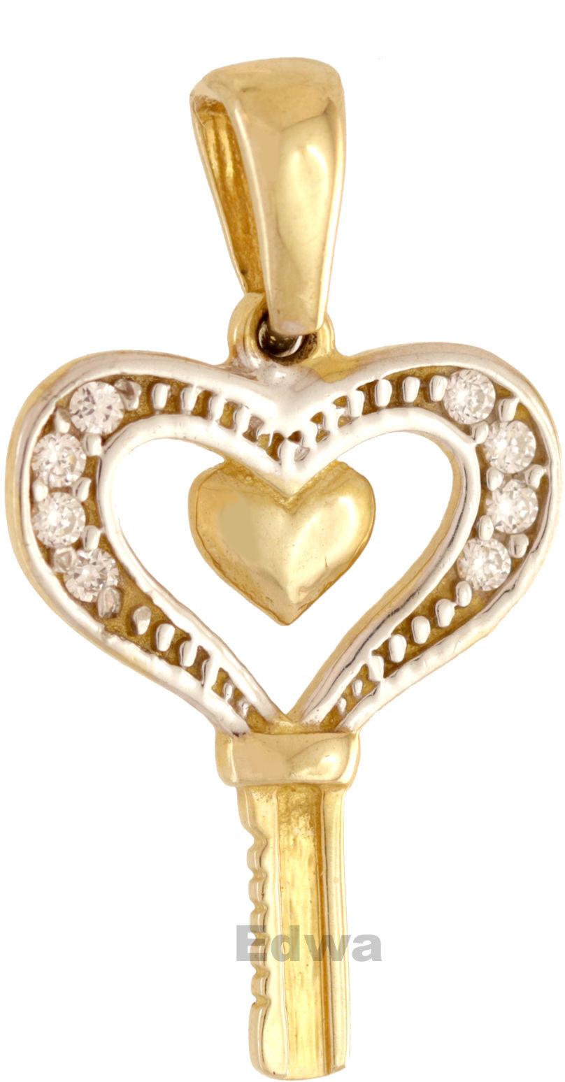Zawieszka złota Serduszko z kluczem pr.585