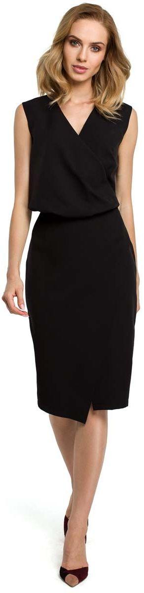 Czarna wizytowa sukienka kopertowa bez rękawów
