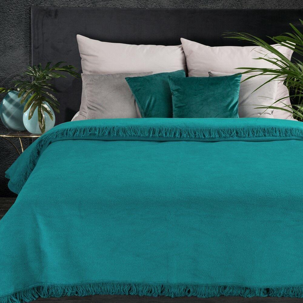 Koc bawełniany akrylowy 220x240 Akryl 7 turkusowy jednobarwny z frędzlami Premium narzuta na łóżko Eurofirany