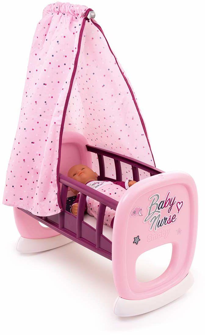 Smoby Baby Nurse 220338 łóżeczko dziecięce dla lalek i lalek z systemem bujania, nadaje się do prania tkanina