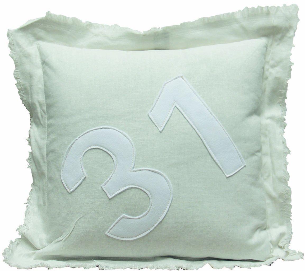 My Flair 23.18SF poduszka, 50 x 50 x 14 cm z wypełnieniem, 40% bawełna 30% len 20% wiskoza 10% poliester, pranie ręczne, biała z liczbą 31