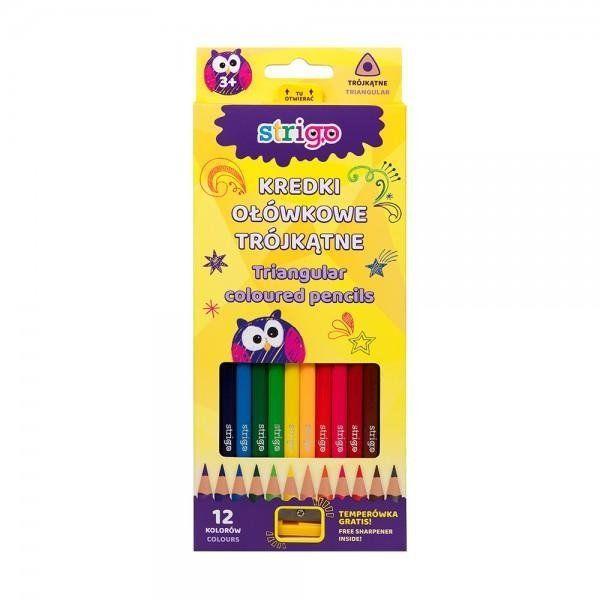 Kredki ołówkowe trójkątne 12 kolorów STRIGO