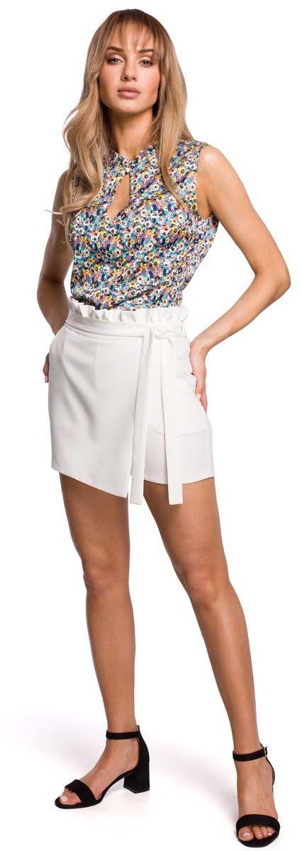 Krótkie spódnico -spodnie z falbanką - ecru