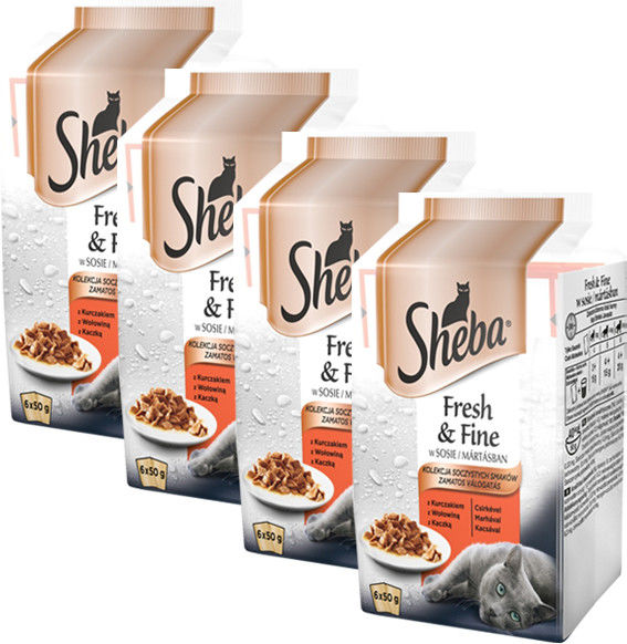 Sheba Fresh & Fine Mięsne dania w sosie 50g x 24 (multipak x 4)