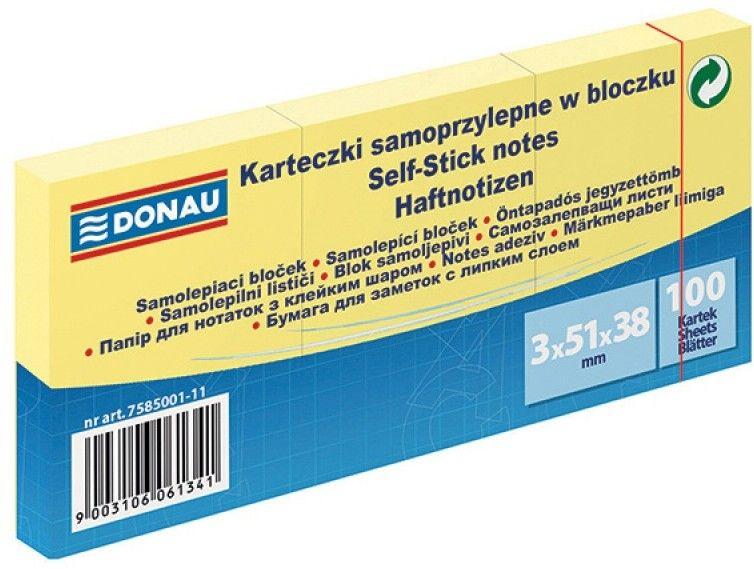 Notes samoprzylepny 38x51mm 100 kartek żółty DONAU 1 szt. /7585001-11/