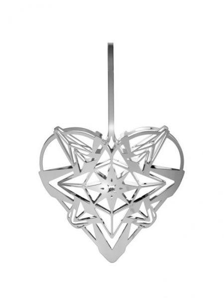Rosendahl KAREN BLIXEN Christmas Zawieszka Świąteczna - Serce 12 cm Srebrne
