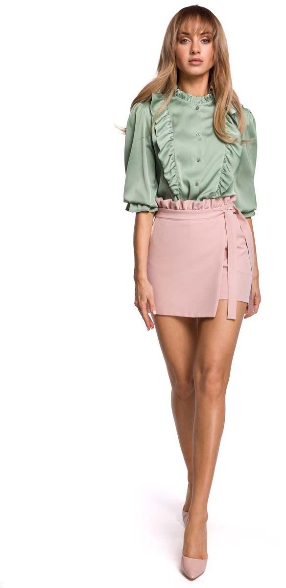 Krótkie spódnico -spodnie z falbanką - pudrowa