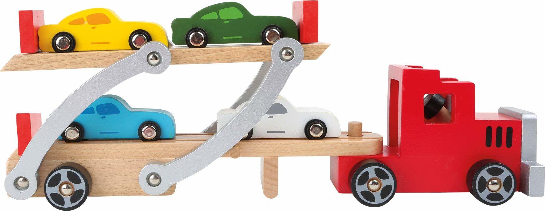 Small foot 4222 drewniany transporter samochodowy, z ruchomą rampą najazdową, zdejmowaną przyczepą i 4 samochodami