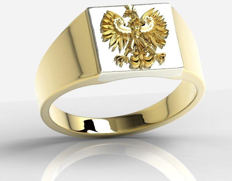 Sygnet z żółtego i białego złota z wizerunkiem orła sj-24zbz
