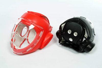 Czerwony kask z maską - sztuczna skóra