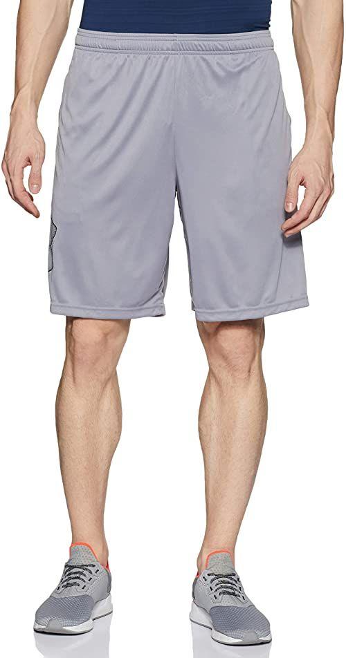 Under Armour Męskie oddychające szorty dresowe dla mężczyzn, wygodne krótkie spodnie o luźnym kroju Tech Graphic szary szary (Steel/Black 035) l