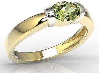 Pierścionek z żółtego i białego złota z oliwin ap-67zb-oli
