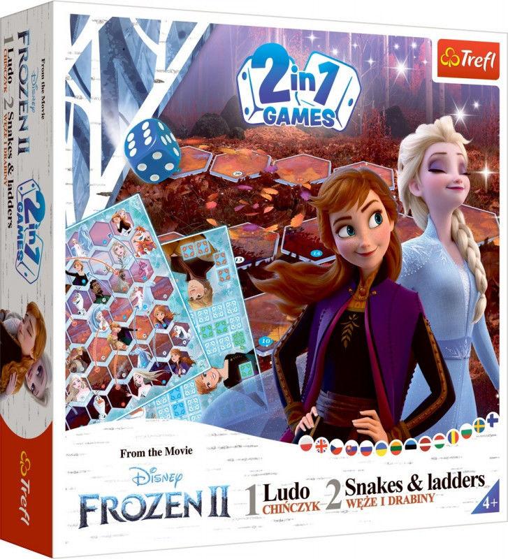 Trefl Gra 2w1 Chinczyk Węże i drabiny Frozen 2