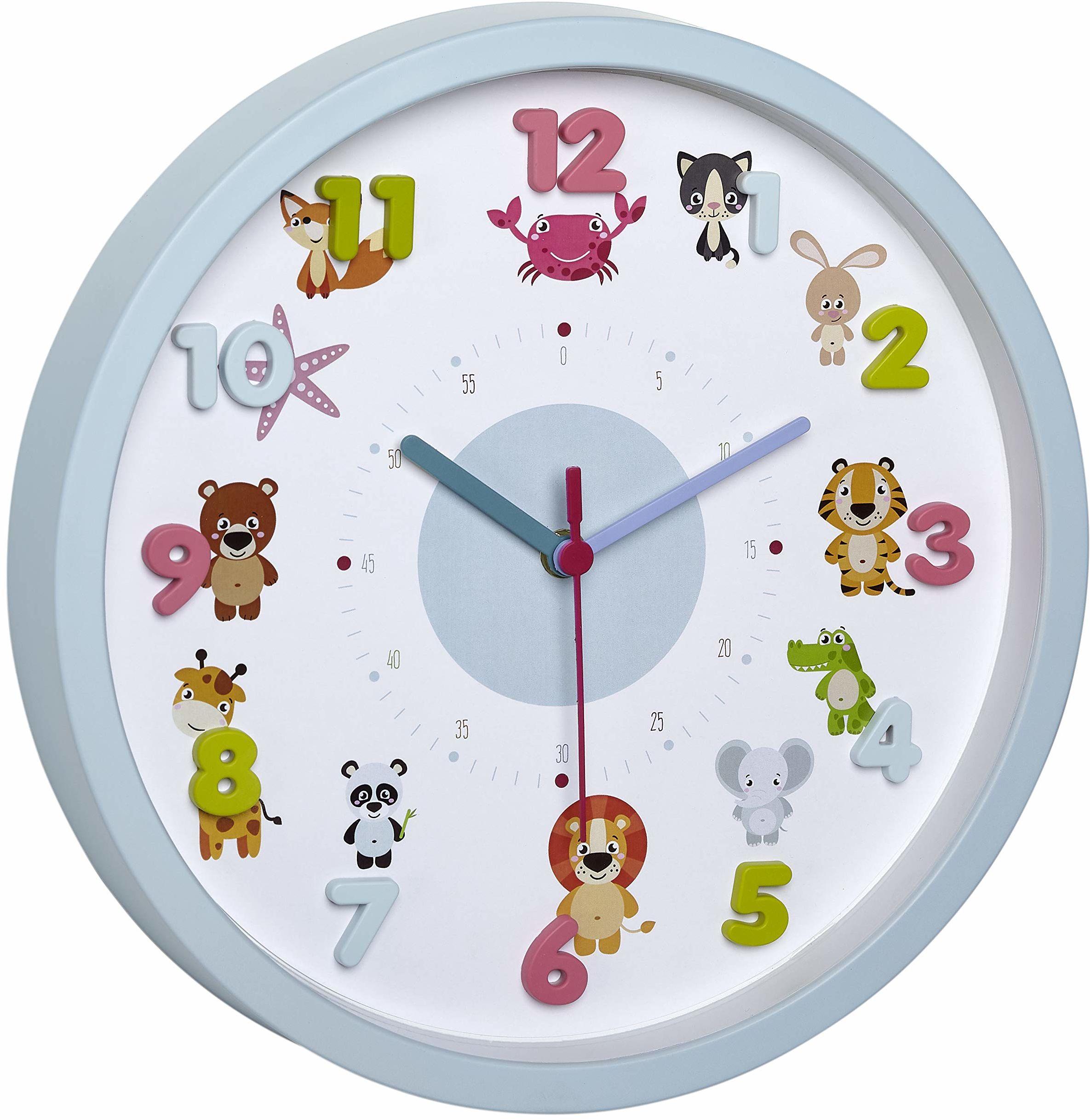 TFA Dostmann LITTLE ANIMALS dziecięcy zegar ścienny z motywami zwierzaków, cichy mechanizm zegarowy, idealny do pokoju dziecięcego, tworzywo sztuczne, szkło, jasnoniebieski