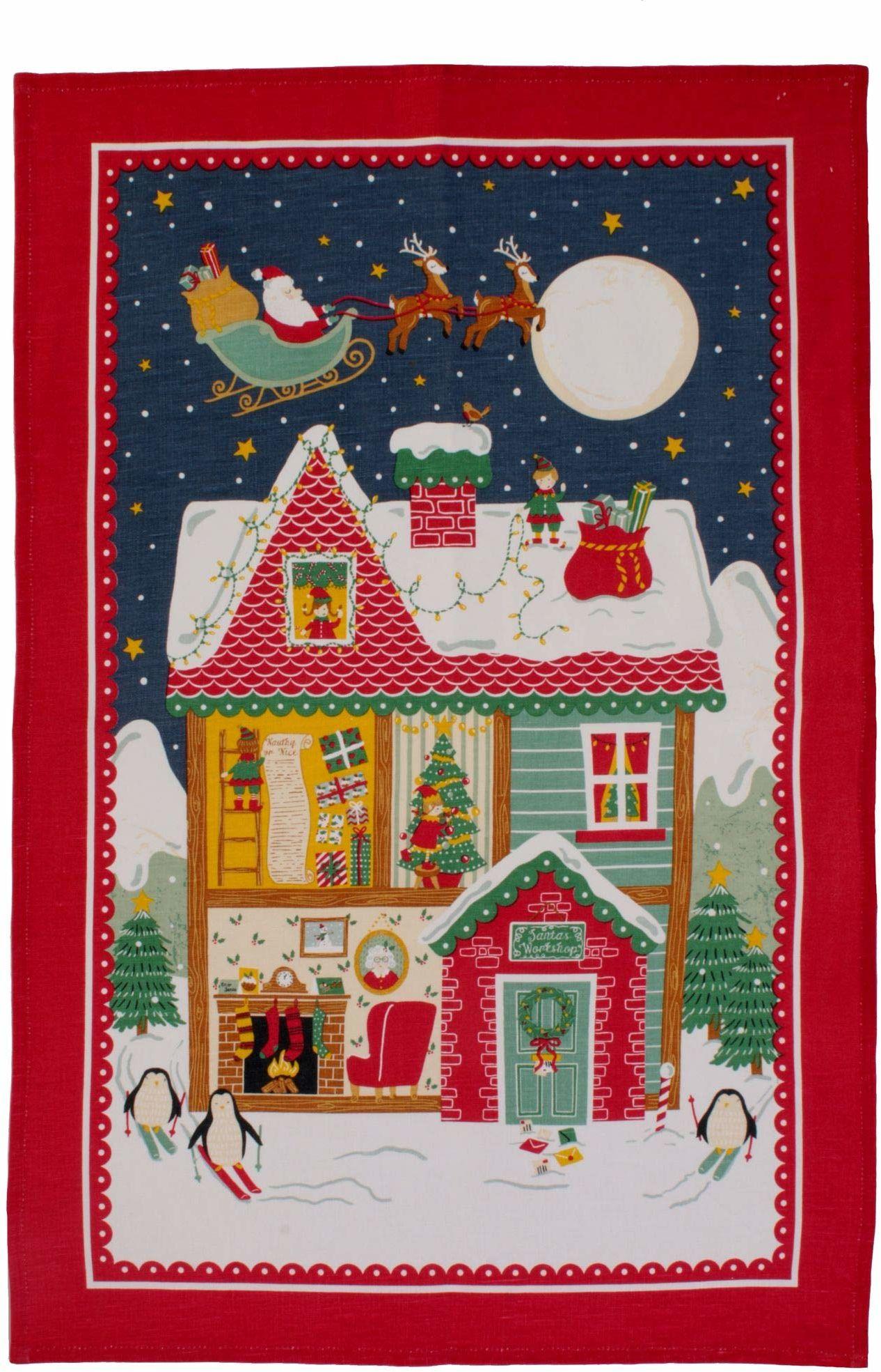 Ulster Weavers Św. Mikołaj bawełniany ręcznik herbaciany, wielokolorowy, wielokolorowy, 48 x 74 cm