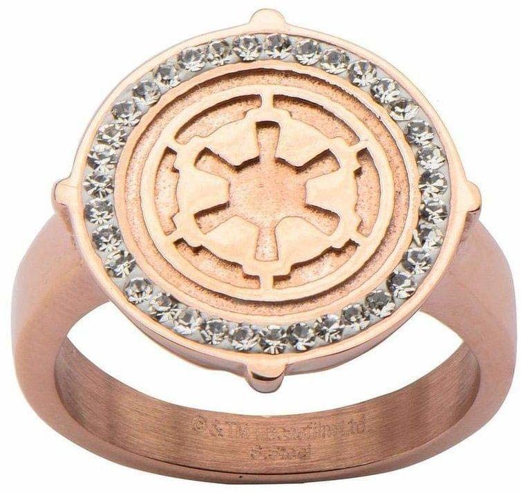 Star Wars - damski symbol Imperium ze stali nierdzewnej różowe złoto - rozmiar 6