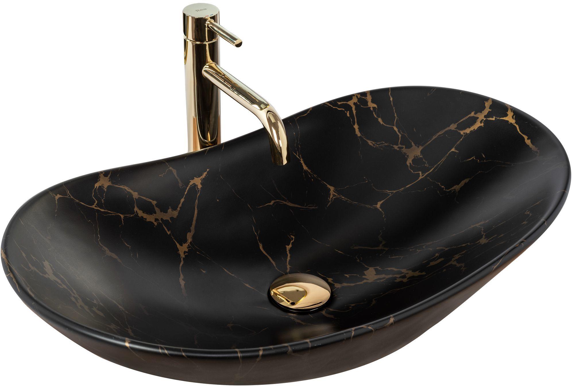 Rea Umywalka nablatowa Rea Royal 60 Black Marble Mat