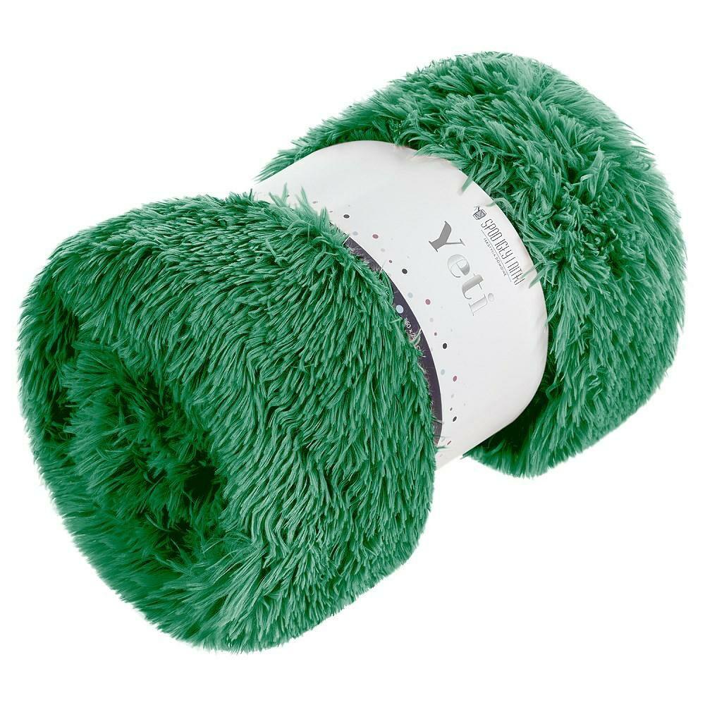 Koc narzuta 150x200 Yeti włochacz zielony butelkowy futrzak na łóżko