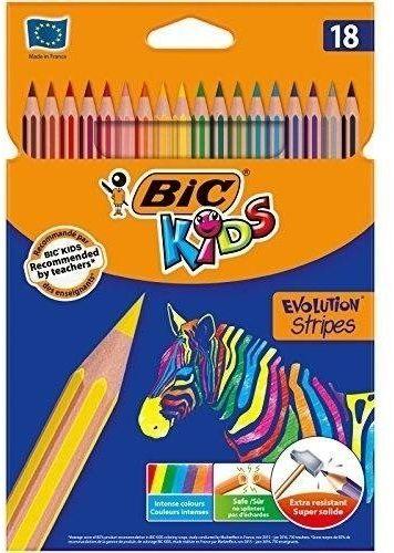 Kredki Kids Eco Evolution Stripes 18 kolorów BIC
