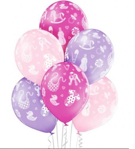 Balony Baby Girl w dziecięce akcesoria, 6 szt.