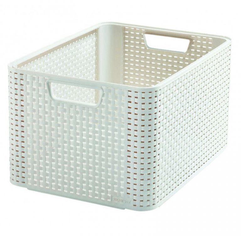 Kosz Polyratan STYLE BOX L - kremowa CURVER