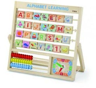 Drewniana Tablica Edukacyjna Alfabet Liczydło Zegar Viga Toys