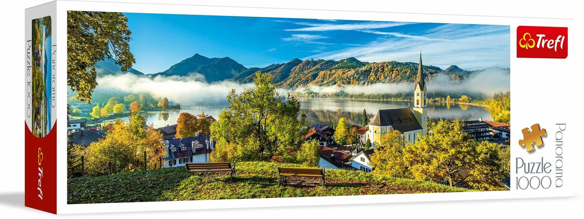 Trefl Nad Jeziorem Schliersee Puzzle Panoramiczne 1000 Elementów o Wysokiej Jakości Nadruku, od 12 lat