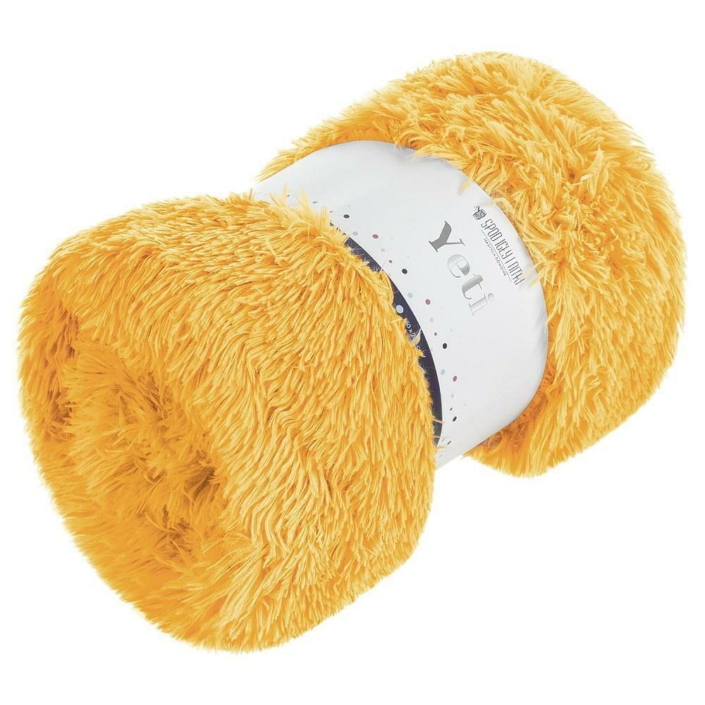 Koc narzuta 150x200 Yeti włochacz musztardowy futrzak na łóżko