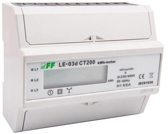 Licznik energii elektrycznej 3-fazowy 5A 230/400V do współpracy z przekładnikiem 200/5A wyświetlacz LCD LE03D-CT200