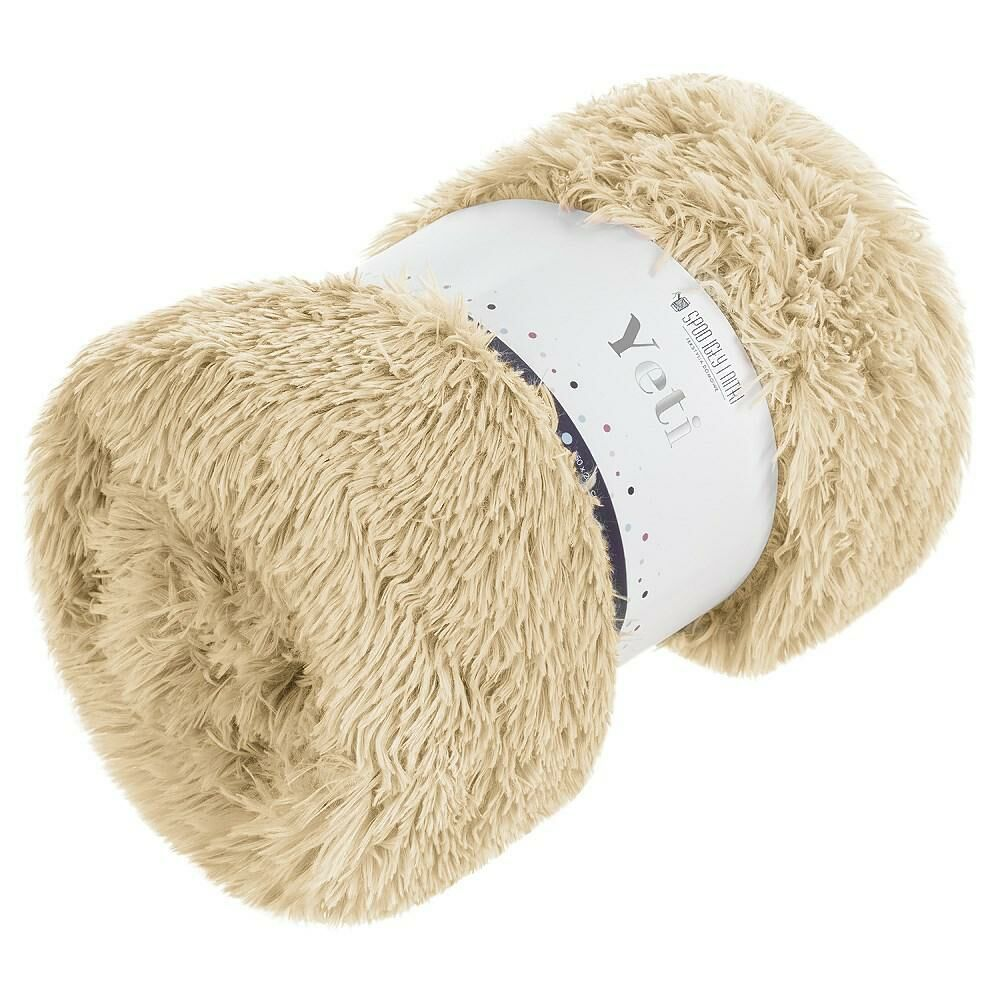 Koc narzuta 150x200 Yeti włochacz beżowy futrzak na łóżko